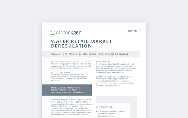Water retail market deregulation 2017